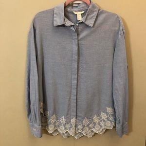 H&M button down striped tunic shirt hem details